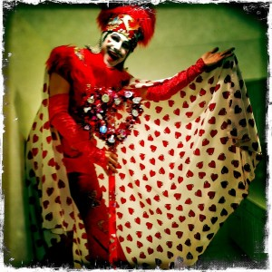 Jack Heart, Stephen Hues with Stilt Circus, Beverly Hills, CA, 2011; photo by Seraphina Whitman.