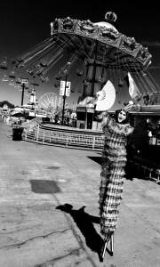 Pierrot, Stephen Hues with Stilt Circus, California State Fair 2016, photo by Richard Dalton, Sacramento.