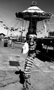 Pierrot, California State Fair 2016, Stephen Hues with Stilt Circus, photo by Richard Dalton, Sacramento. California.