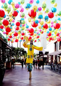 Stephen Hues with Stilt Circus, Westfield Mall, Beverly Hills.