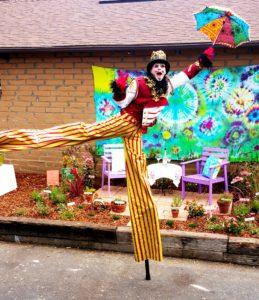 Summer of Love, Monterey County Fair 2017, with Stilt Circus, Stilt Walker Stephen Hues.