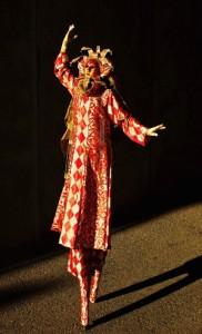 Venetian Masquerade, Stephen Hues with Stilt Circus, California State Fair, photo by Richard Dalton, Sacramento, California.