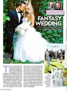 Aaron Paul's wedding in People Magazine with Stilt Circus, male Stilt Performer Richard Dalton's costume is designed by Stephen Hues.