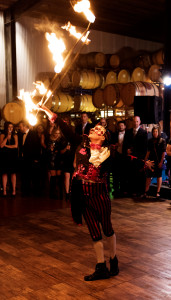 Chico with Fire Hoop at Eleven Eleven Winery, Napa, CA, 2016, Bryan Gray Photography, Costume by Stephen Hues.