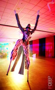 Freak Nights, Stilt Performer Stephen Hues with Stilt Circus, Seattle, Washington, costume designed by Stephen Hues.
