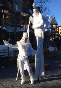 Mammoth Village, Chico Burner and Stephen Hues with Stilt Circus, costumes by Stephen Hues, California, 2015.