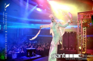 Angel, Giant NYE 2010 at the Palladium, Stephen Hues with Stilt Circus, Hollywood, CA.