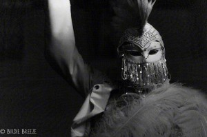 Angel, KCRW Masquerade Ball 2012, Stephen Hues with Lucent Dossier, Park Plaza Hotel, LA, CA; photo by Birdie Breeze.