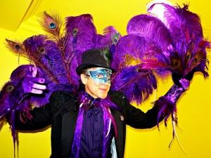 Mardi Gras, Stephen Hues with Stilt Circus.