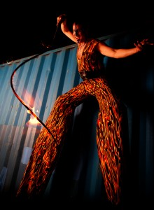 Fire Whip on Stilts, Stephen Hues with SkyFire
